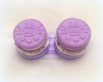 Made to order Sweet Oreo Polymer Clay Contact Lenses Plastic Case Box/Cute Kawaii DecoDen Handmade Fimo/Biscuit Cookie Frosting Purple