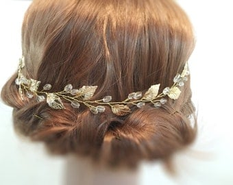 Wedding Hair Piece Gold, bridal hair piece wedding hair accessories, bridal headpiece, leaf hair piece, headpiece wedding, bridal accessory
