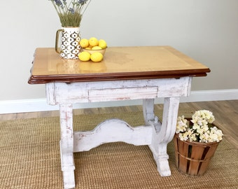 Enamel Top Table - Distressed Furniture - Antique Farm Table - Expandable Table - Unique Furniture - Small Accent Table