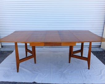 Gate Leg Drop Leaf Walnut Rectangular Dining Table with One Leaf 7 + Foot Long Mid Century Modern Dining Room Furniture Scallop Ends