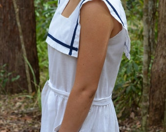 Vintage dress sailor style boating nautical blue white navy casual day tie waist