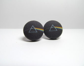 MINI Pink Floyd Dark Side of the Moon Fabric Button Earrings