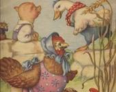 Antique Reading Book Illustration Digital Image Download Printable Little Red Hen