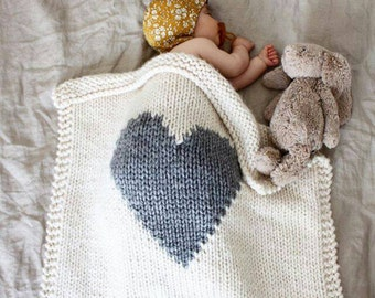 Baby Blanket Heart Cream and Grey, Baby Blanket Knitted for Bassinet, Baby Shower, New Baby, Stroller Blanket