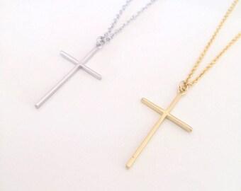 Dainty cross necklace, tiny cross, minimalist necklace, Gold cross necklace, silver cross necklace, thin cross necklace, delicate necklace