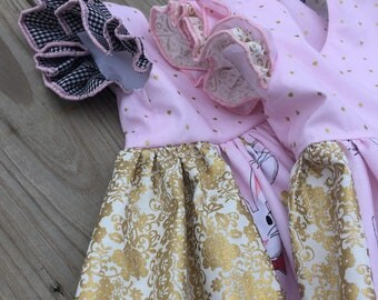 Pink Bunny Dress, Gold Dress, Easter Outfit, Girls 3T, Rabbit Dress, Gold Lace Dress
