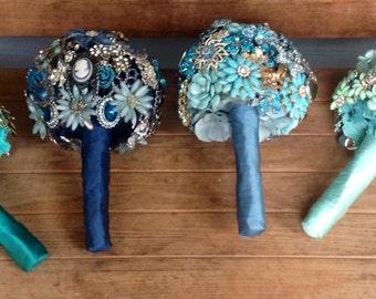 DEPOSIT | Custom Brooch Bouquet | Ombré Bridesmaids Bouquets | Bridal Wedding Bouquet