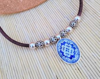 Portuguese Tile Statement Necklace, Portuguese Jewelry, Portugal, Azulejos, Blue Azulejos, Eco-friendly Cork