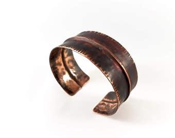 Foldformed Bracelet Cuff - Copper Fold Formed Hammered Textured - Dark Torch Patina Rustic Steampunk Urban Chic Boho Bohemian Hippie Gypsy