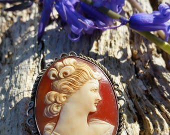 Carved Shell Cameo Brooch With Sterling Silver Mount