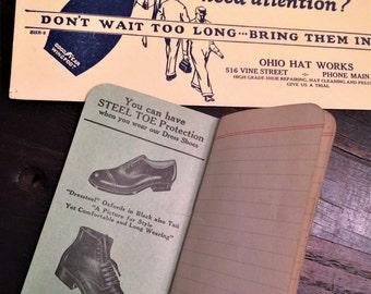 Vintage c 1940 Mens Shoe Advertising Items, Ink Blotter, Small Notebook, Shoe Repair, Work Shoes