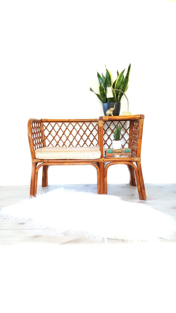 Bamboo Gossip Bench Telephone Table Bench Foyer Entryway