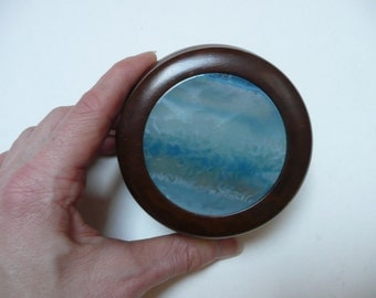 Vintage Blue Agate handmade and hand polished decorated wooden box