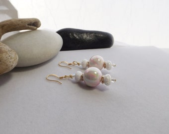 Drop, Dangle, White, Pink, and Gold Chunky Beaded Earrings with Glass and Resin Beads for Spring, Summer, Weddings, Winter, Gift for Her