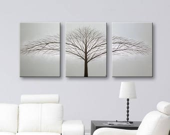 Minimalist Art Wall Decor Original Painting Tree of Life Paintings 3 Piece Canvas Art Gray Artwork 48x20