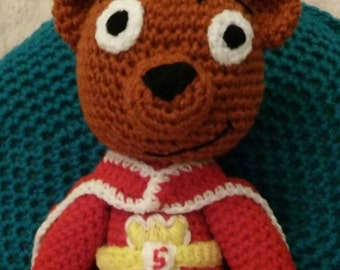 super ted plushie- inspired by super ted soft toy-caped super hero stuffed amigurumi toy-teddy bear
