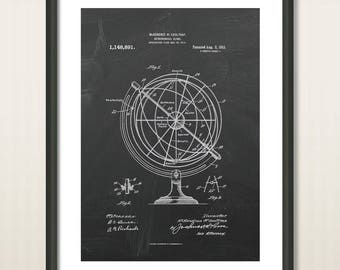 Astronomical Globe Patent Print - Astronomical Decor - Educational Astronomy Device - Globe Planetarium - Celestial Navigation Astronomy