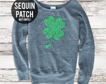 St Patricks Day Shirt. Sequin Shamrock Patch. St Patricks Day Sweatshirt Jumper. Sequin Top. Four Leaf Clover. Plus Size. Tumblr Shirt