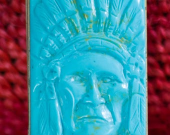Very Unique Turquoise and Silver Money Clip with Indian Chief Head