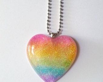 Neon Rainbow Glitter Resin Heart Pendant Kawaii Necklace Kawaii Jewlery Pop Kei Jewelry Fairy Kei Jewelry Oshare Kei Jewelry Heart Necklace