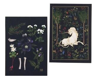 """Small print set #2, """"Forest"""" unicorn art, poisonous plants, floral art, dark art, heraldic medieval, grimoire"""