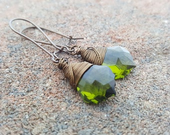 Wire Wrapped Olivine Peridot Swarovski Crystal Earrings -  Antiqued Brass Glam Earrings - Gift For Her