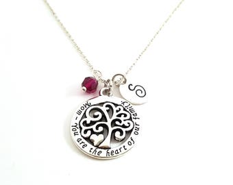 Tree Of Life Necklace - Mom Family Tree - Swarovski Birthstone - Personalized Initial Necklace - Sterling Silver Jewelry - Gift for Her
