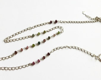 Pink tourmaline chain necklace, green necklace, tourmaline dainty necklace, sterling silver rosary necklace, sterling silver toggle necklace
