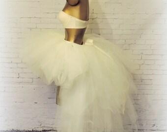High Low  bridal wedding tutu, tutu with train, sewn tutu,ivory tutu, halloween tutu,steampunk wedding, fantasy wedding