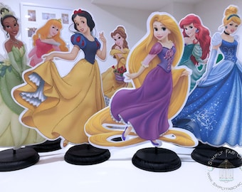 Disney Princess Centerpieces (7 characters) table decor Cinderella Snow White Tiana Aurora Belle Ariel