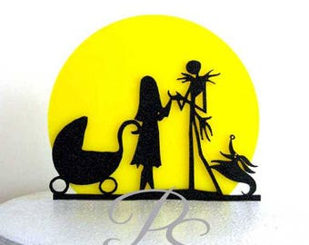 Wedding Cake Topper, Baby Shower Cake Topper -The Nightmare Before Christmas Jack and Sally silhouette with a yellow moon