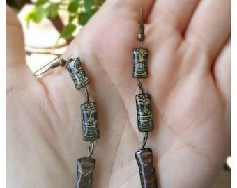 Tiki statue earrings, tiki totem pole, brown tiki, long earrings, statement earrings, tiki oasis jewelry, hand drawn jewelry, hawaiian style