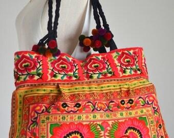 Women Bag Hmong Ethnic Embroidered Boho Handbag Thai Hill Tribe Tote Messenger Purse Vintage Bag XTOX74