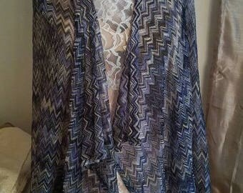 Shawl Wrap Blue Metallic One Size