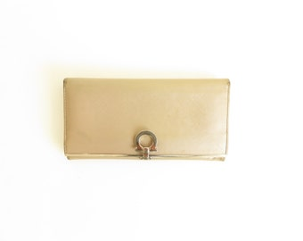 Salvatore Ferragamo Golden Leather Wallet with Metal Details Made in Italy