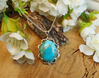 Turquoise & Pyrite Necklace, Arizona Turquoise 23.13 Carats 17.02 x 7.47 mm Turquoise Stone, December Birthstone,  Authenticity Certified