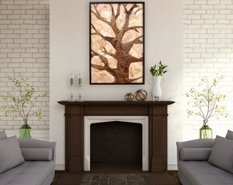 Geometric Tree artwork made of old reclaimed barnwood, wood wall art, large wall art, artwork