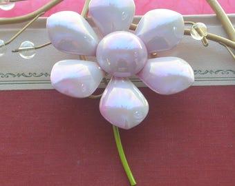 Lavender Flower Brooch - Enameled, Green Stem - Vintage - Beautiful!
