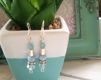 Sky blue Swarovski crystal silver plated earrings - soft blue rhinestone and crystal earrings - blue crystal jewelry - sky blue earrings