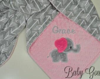 Personalized Minky Baby Blanket - Baby Elephant Blanket - Silver Archer Minky - Blush Pink Minky Dimple Dot - Custom Minky Baby Blanket
