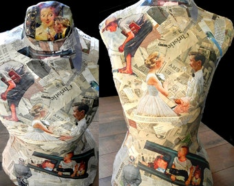 Norman Rockwell inspired Dress Form/ Mannequin/ Display Form