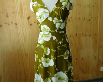 Osti Olive and White Summer Dress Vintage Size 14