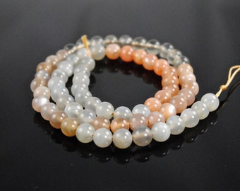 6mm Moonstone Beads-Multicolor Moonstone Beads-Peach Moonstone-White Moonstone-Grey Moonstone-High Grade Moonstone Beads-Mixed Moonstone