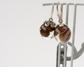 Coffee earrings - Resin earrings - Ball earrings - Coffee beans jewelry - Sphere earrings - Globe earrings - Clear resin jewelry