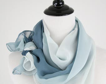 1990s Ombre Blue Silk Chiffon Large Oblong Scarf