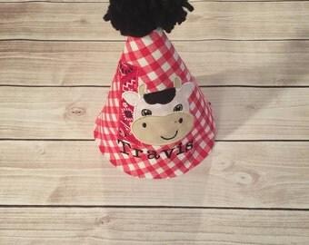 Baby Boy Farm Cow Theme Birthday Party Hat