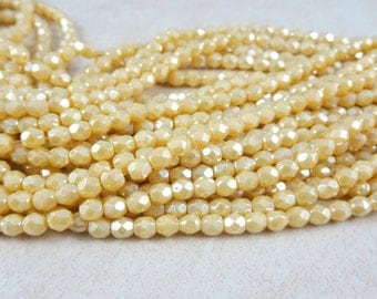 Czech Beads, 4mm Czech Glass Fire Polished Beads, 4mm Faceted Round Beads - Pale Yellow Luster (FP4/RJ-L13010) - Qty 50