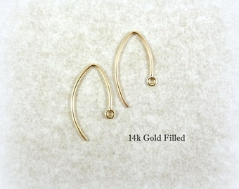 Marquise Earwires, Gold Filled Ear Wires - 22mm Elongated Ear Wires (1354F) - Qty. 1 Pair