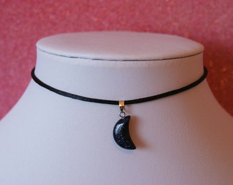 Moon Blue Sandstone Necklace | Pendant Charm Choker Necklace | Leather Or Satin Silk Cord