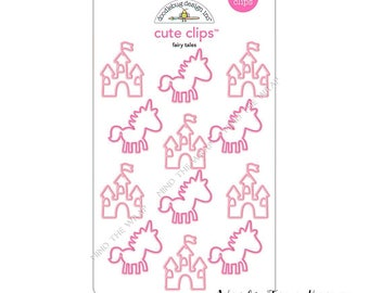 """Doodlebug """"Fairy Tales"""" Cute Clips - 12 Unicorn & Castle Shape Paperclips - 2 Shades of Pink - Planners Decoration Card-making Gift Wrap"""